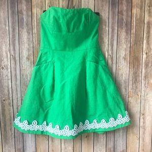 Lilly Pulitzer Strapless Green Blossom Dress Sz 4